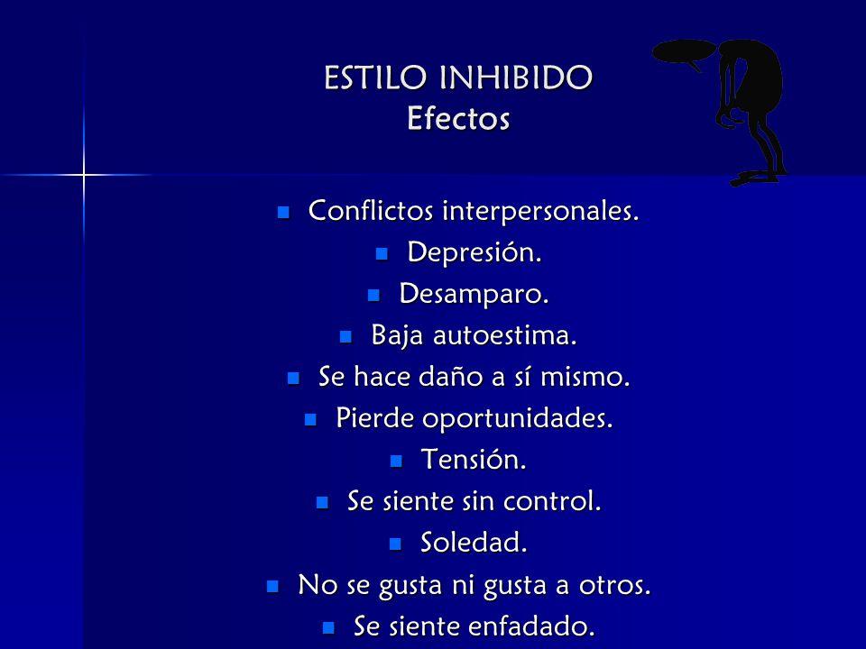 ESTILO INHIBIDO Efectos Conflictos interpersonales.