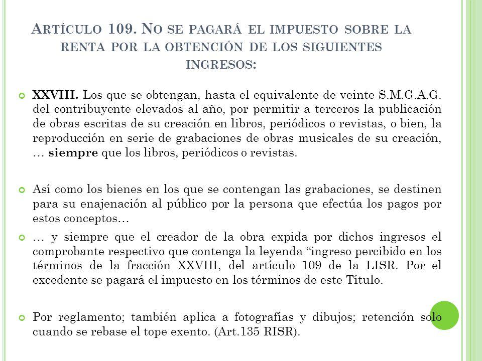 109 de la ley de impuesto sobre la renta: