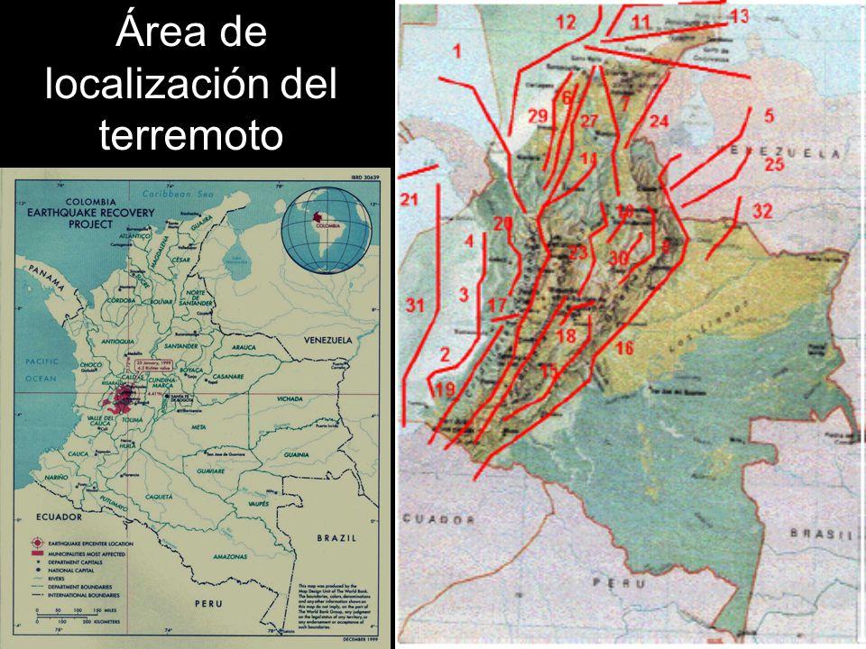 Área de localización del terremoto