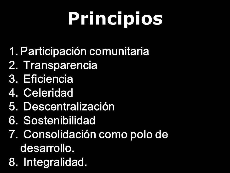 Principios 1.Participación comunitaria 2. Transparencia 3.