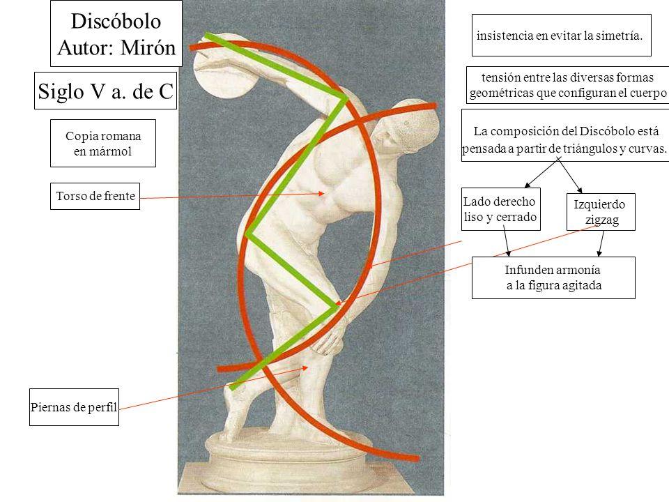 Discóbolo Autor: Mirón Siglo V a.de C Copia romana en mármol insistencia en evitar la simetría.
