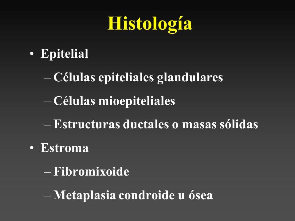 Clínica Tumor asintomático, lento luego rápido Raro asociado a multinodularidad, parálisis VII o fijación estructuras profundas (variantes alto grado)