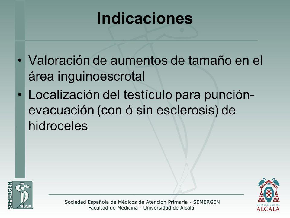 Indicaciones Valoración de aumentos de tamaño en el área inguinoescrotal Localización del testículo para punción- evacuación (con ó sin esclerosis) de hidroceles