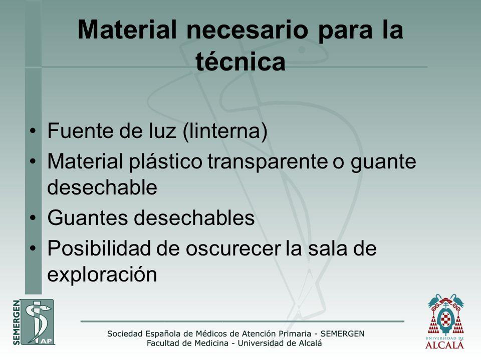 Material necesario para la técnica Fuente de luz (linterna) Material plástico transparente o guante desechable Guantes desechables Posibilidad de oscurecer la sala de exploración
