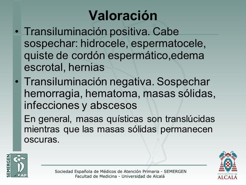 Valoración Transiluminación positiva.