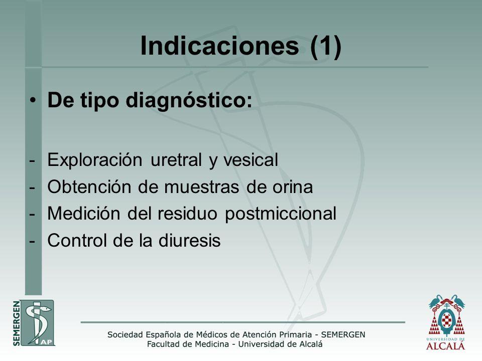 Indicaciones (1) De tipo diagnóstico: -Exploración uretral y vesical -Obtención de muestras de orina -Medición del residuo postmiccional -Control de la diuresis