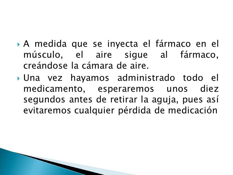  A medida que se inyecta el fármaco en el músculo, el aire sigue al fármaco, creándose la cámara de aire.