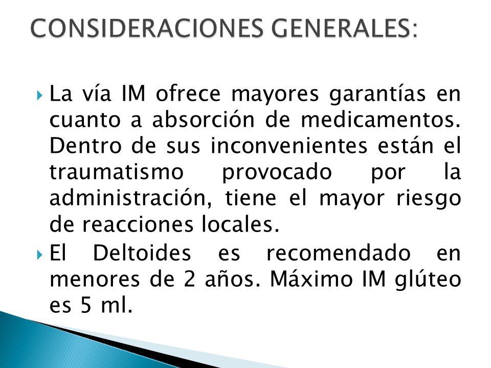  La vía IM ofrece mayores garantías en cuanto a absorción de medicamentos.
