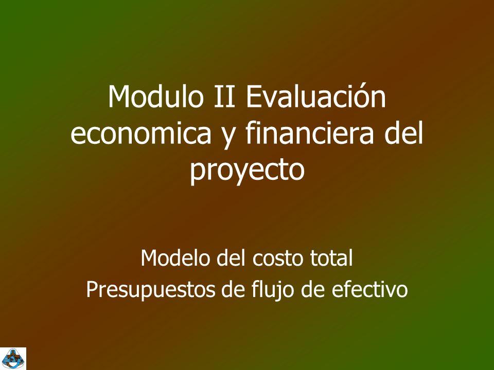 Modulo II Evaluación economica y financiera del proyecto Modelo del costo total Presupuestos de flujo de efectivo