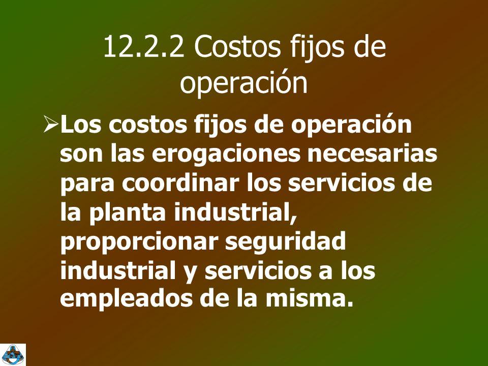 12.2.2 Costos fijos de operación  Los costos fijos de operación son las erogaciones necesarias para coordinar los servicios de la planta industrial, proporcionar seguridad industrial y servicios a los empleados de la misma.
