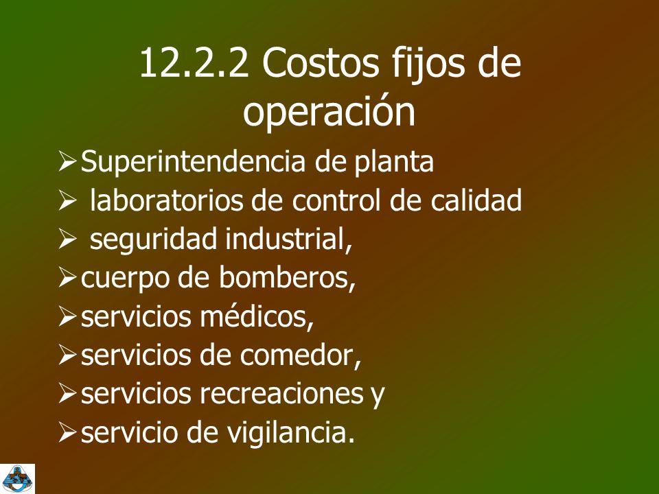 12.2.2 Costos fijos de operación  Superintendencia de planta  laboratorios de control de calidad  seguridad industrial,  cuerpo de bomberos,  servicios médicos,  servicios de comedor,  servicios recreaciones y  servicio de vigilancia.