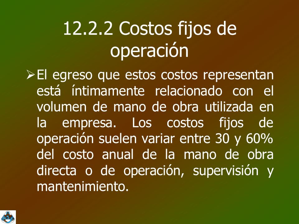 12.2.2 Costos fijos de operación  El egreso que estos costos representan está íntimamente relacionado con el volumen de mano de obra utilizada en la empresa.
