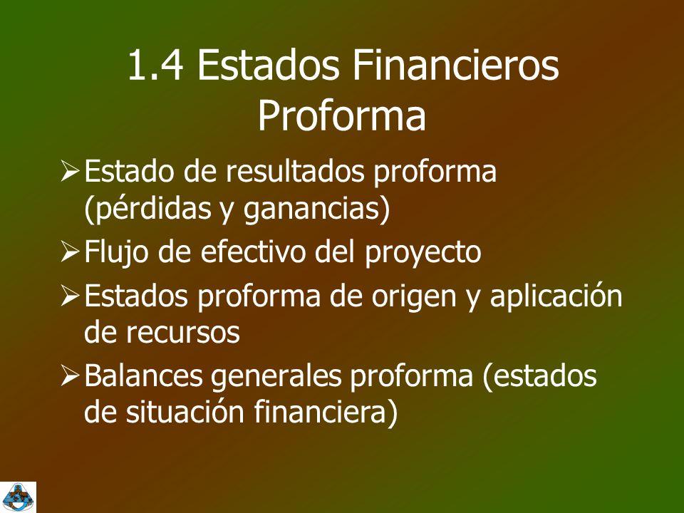 1.4 Estados Financieros Proforma  Estado de resultados proforma (pérdidas y ganancias)  Flujo de efectivo del proyecto  Estados proforma de origen y aplicación de recursos  Balances generales proforma (estados de situación financiera)