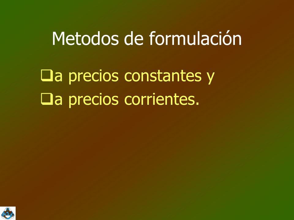 Metodos de formulación  a precios constantes y  a precios corrientes.