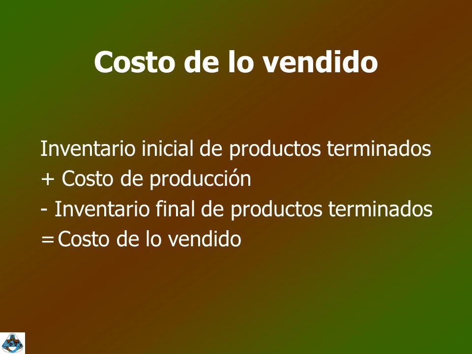 Costo de lo vendido Inventario inicial de productos terminados + Costo de producción - Inventario final de productos terminados =Costo de lo vendido