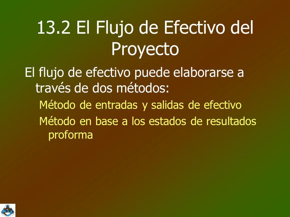 13.2 El Flujo de Efectivo del Proyecto El flujo de efectivo puede elaborarse a través de dos métodos: Método de entradas y salidas de efectivo Método en base a los estados de resultados proforma