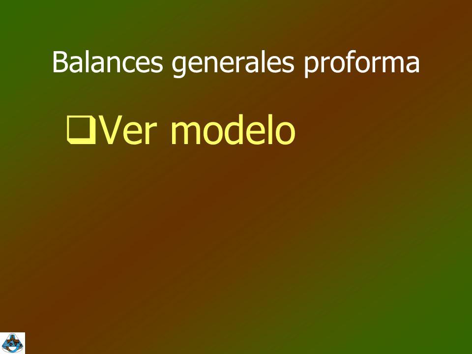 Balances generales proforma  Ver modelo