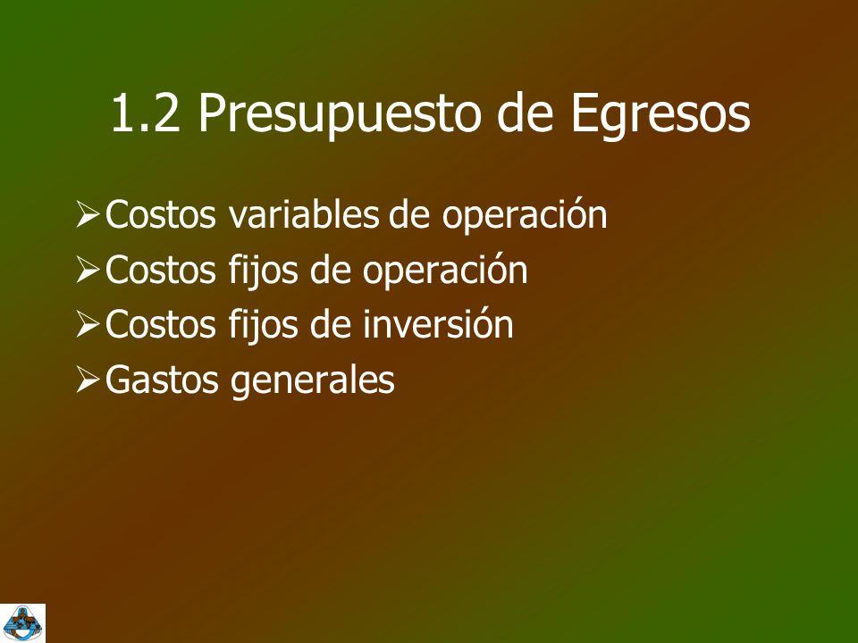 1.2 Presupuesto de Egresos  Costos variables de operación  Costos fijos de operación  Costos fijos de inversión  Gastos generales