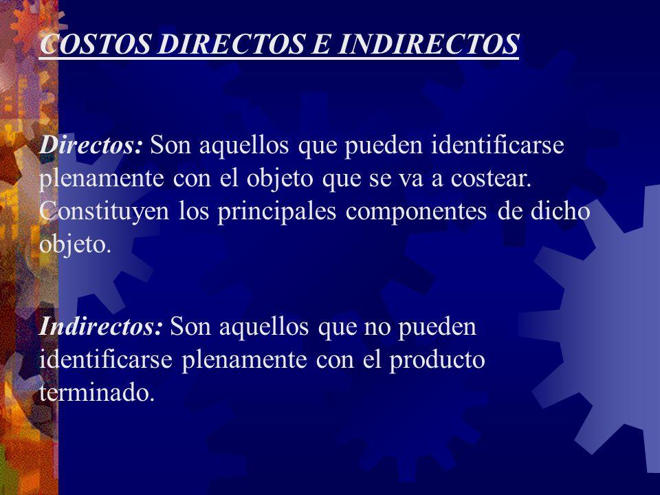 COSTOS DIRECTOS E INDIRECTOS Directos: Son aquellos que pueden identificarse plenamente con el objeto que se va a costear.