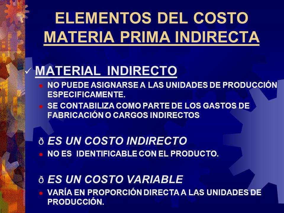 ELEMENTOS DEL COSTO MATERIA PRIMA INDIRECTA MATERIAL INDIRECTO  NO PUEDE ASIGNARSE A LAS UNIDADES DE PRODUCCIÓN ESPECIFICAMENTE.