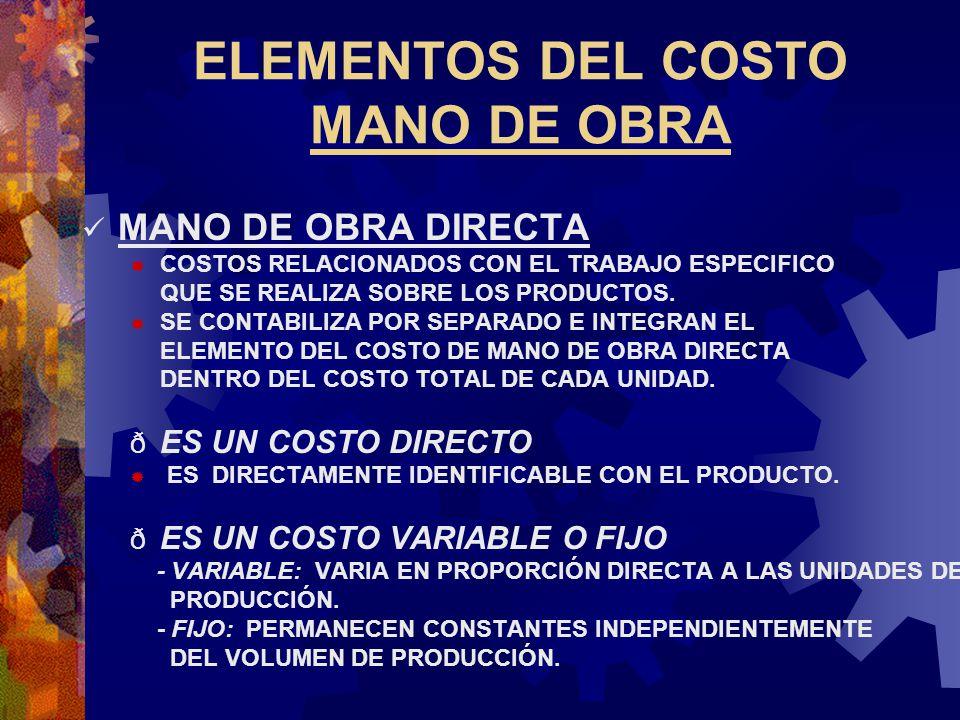 ELEMENTOS DEL COSTO MANO DE OBRA MANO DE OBRA DIRECTA  COSTOS RELACIONADOS CON EL TRABAJO ESPECIFICO QUE SE REALIZA SOBRE LOS PRODUCTOS.