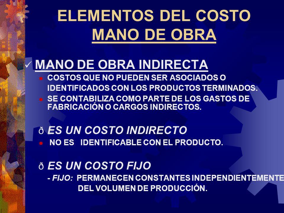 ELEMENTOS DEL COSTO MANO DE OBRA MANO DE OBRA INDIRECTA  COSTOS QUE NO PUEDEN SER ASOCIADOS O IDENTIFICADOS CON LOS PRODUCTOS TERMINADOS.