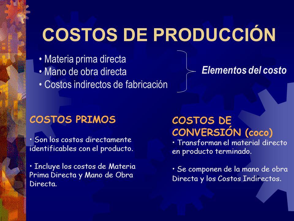 COSTOS DE PRODUCCIÓN COSTOS PRIMOS Son los costos directamente identificables con el producto.
