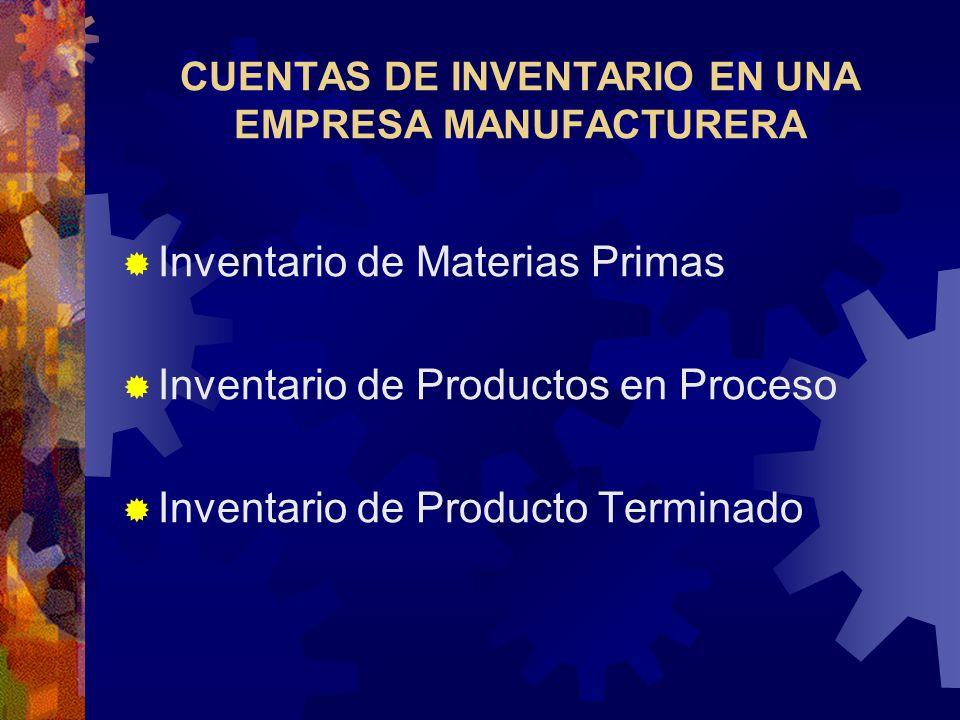 CUENTAS DE INVENTARIO EN UNA EMPRESA MANUFACTURERA  Inventario de Materias Primas  Inventario de Productos en Proceso  Inventario de Producto Terminado