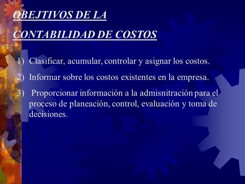 OBEJTIVOS DE LA CONTABILIDAD DE COSTOS 1)Clasificar, acumular, controlar y asignar los costos.