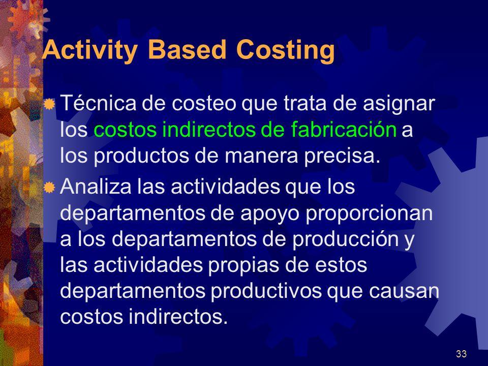 33 Activity Based Costing  Técnica de costeo que trata de asignar los costos indirectos de fabricación a los productos de manera precisa.
