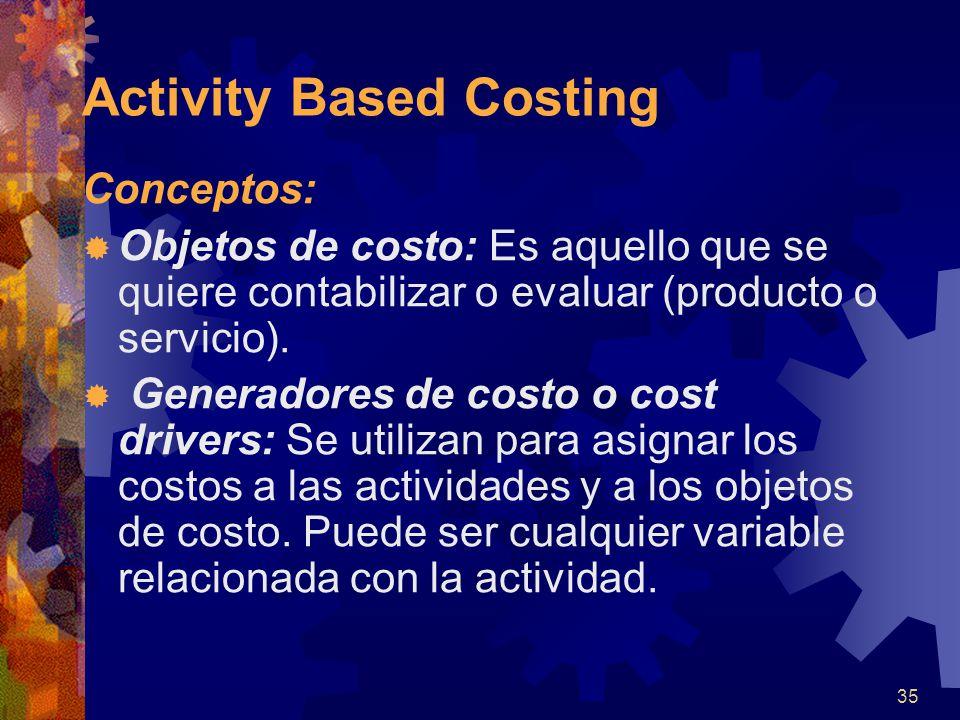 35 Conceptos:  Objetos de costo: Es aquello que se quiere contabilizar o evaluar (producto o servicio).