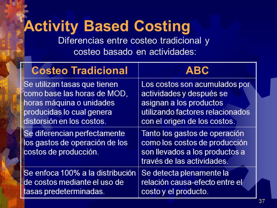 37 Activity Based Costing Diferencias entre costeo tradicional y costeo basado en actividades: Costeo TradicionalABC Se utilizan tasas que tienen como base las horas de MOD, horas máquina o unidades producidas lo cual genera distorsión en los costos.