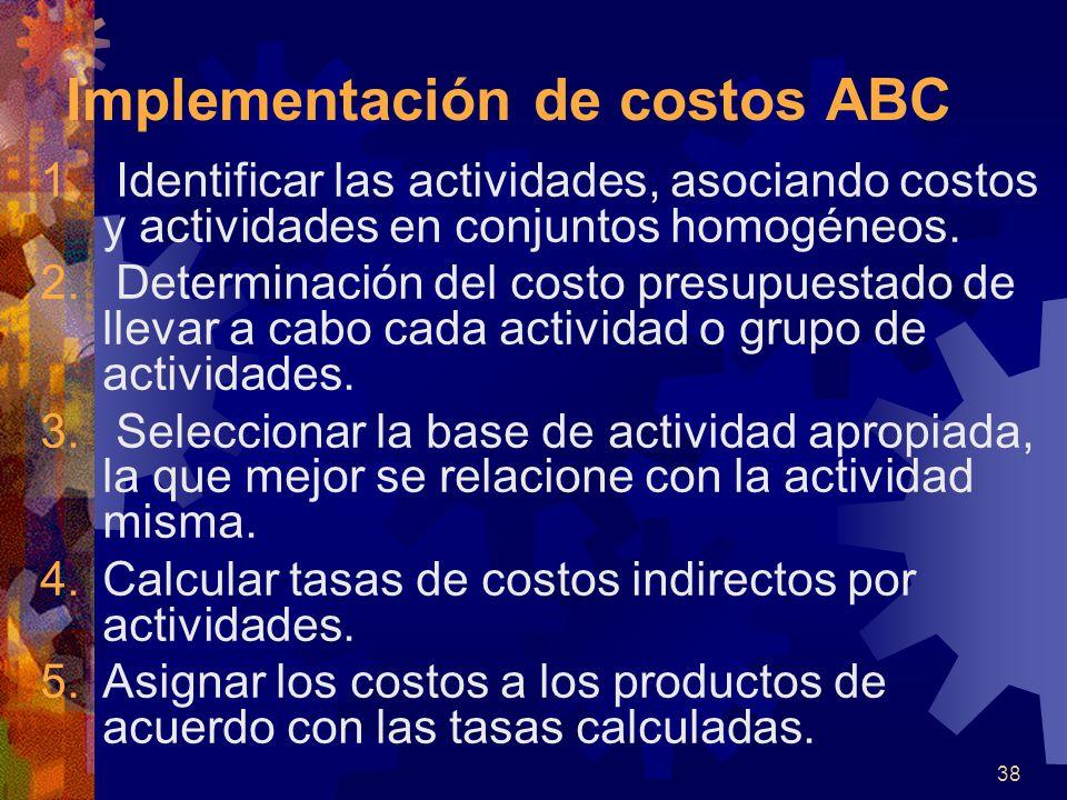 38 1.Identificar las actividades, asociando costos y actividades en conjuntos homogéneos.