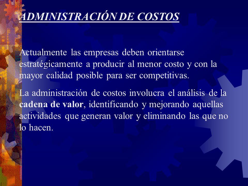ADMINISTRACIÓN DE COSTOS Actualmente las empresas deben orientarse estratégicamente a producir al menor costo y con la mayor calidad posible para ser competitivas.