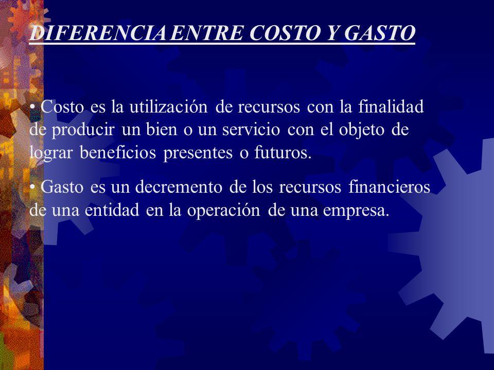 DIFERENCIA ENTRE COSTO Y GASTO Costo es la utilización de recursos con la finalidad de producir un bien o un servicio con el objeto de lograr beneficios presentes o futuros.