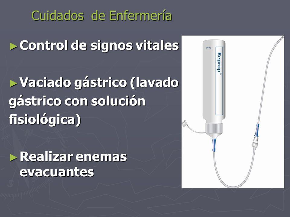 Cuidados de Enfermería ► Control de signos vitales ► Vaciado gástrico (lavado gástrico con solución fisiológica) ► Realizar enemas evacuantes