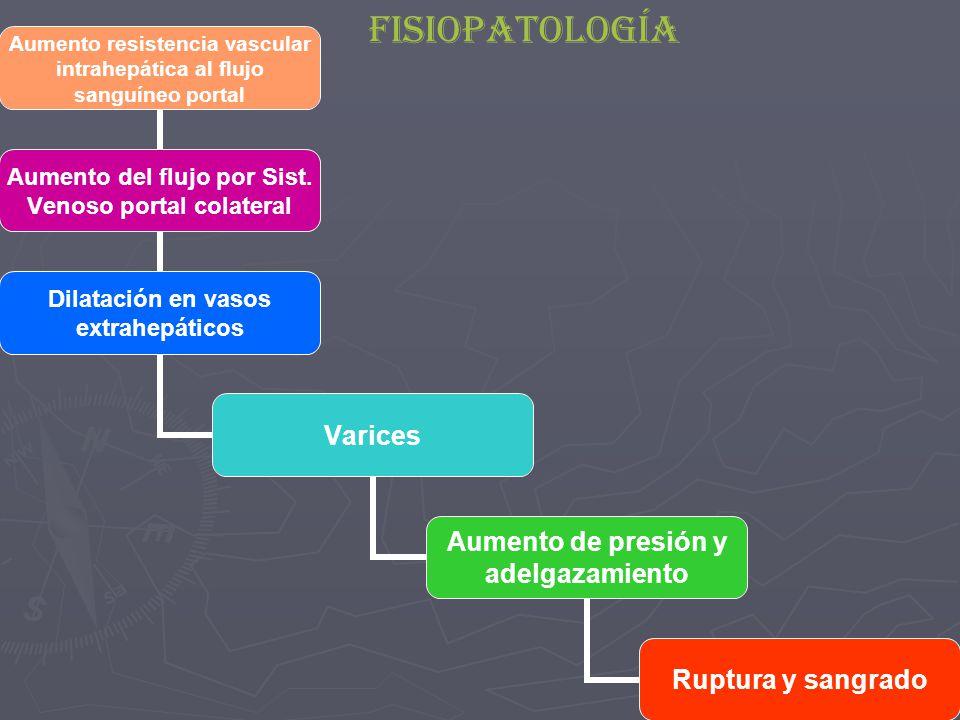 Aumento resistencia vascular intrahepática al flujo sanguíneo portal Aumento del flujo por Sist.