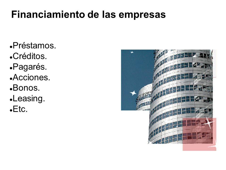Financiamiento de las empresas ● Préstamos.● Créditos.