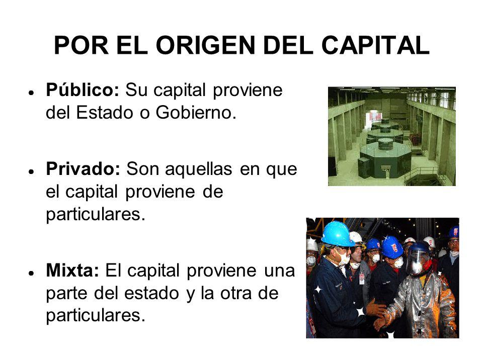 POR EL ORIGEN DEL CAPITAL ● Público: Su capital proviene del Estado o Gobierno.