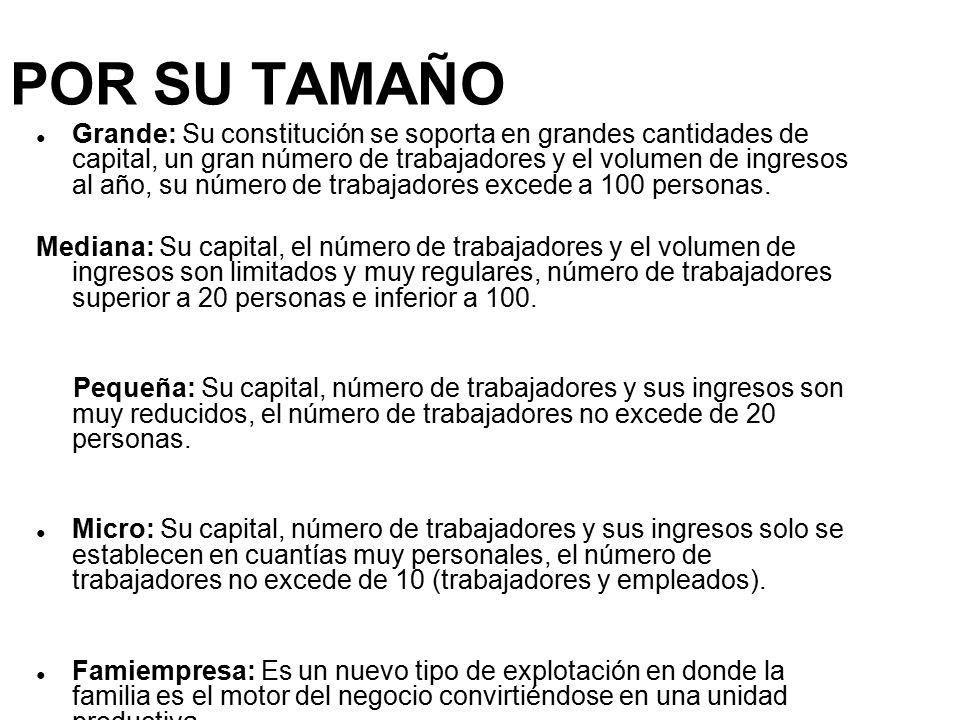 POR SU TAMAÑO ● Grande: Su constitución se soporta en grandes cantidades de capital, un gran número de trabajadores y el volumen de ingresos al año, su número de trabajadores excede a 100 personas.