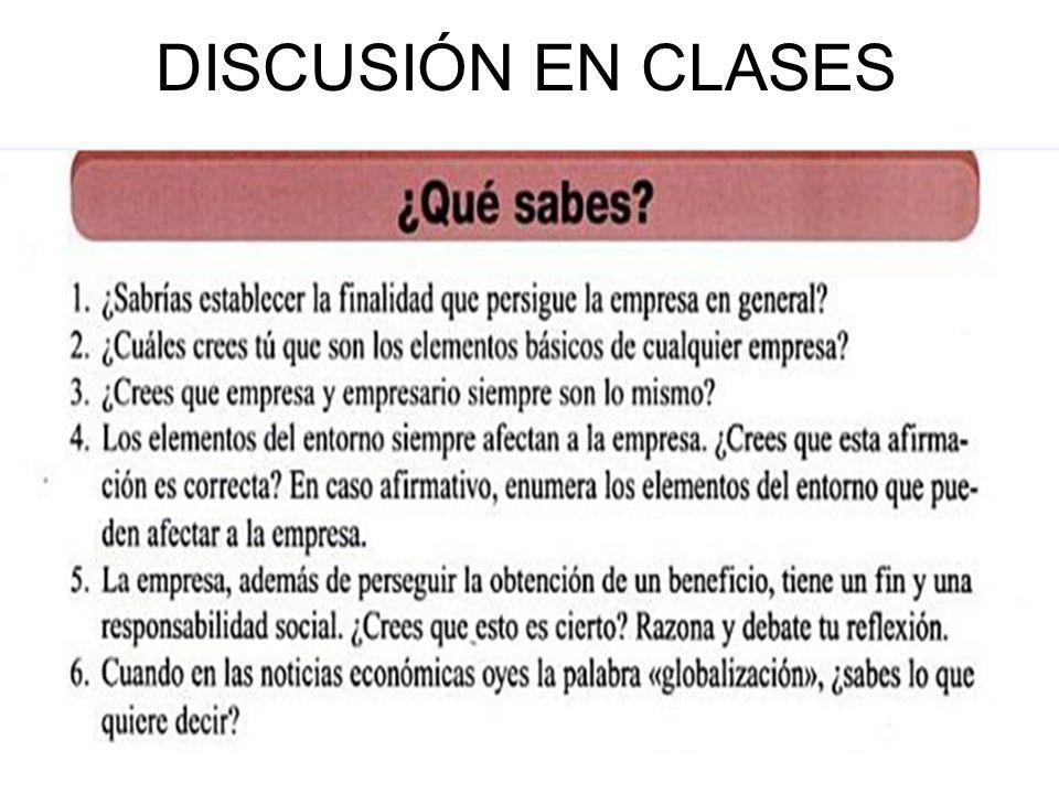 DISCUSIÓN EN CLASES