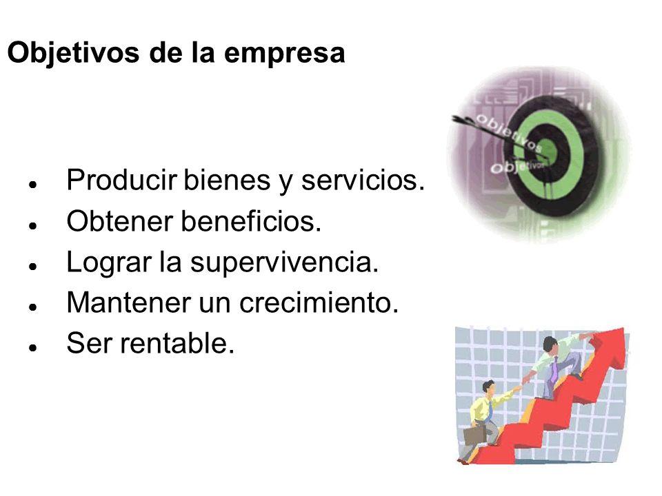 ● Producir bienes y servicios.● Obtener beneficios.