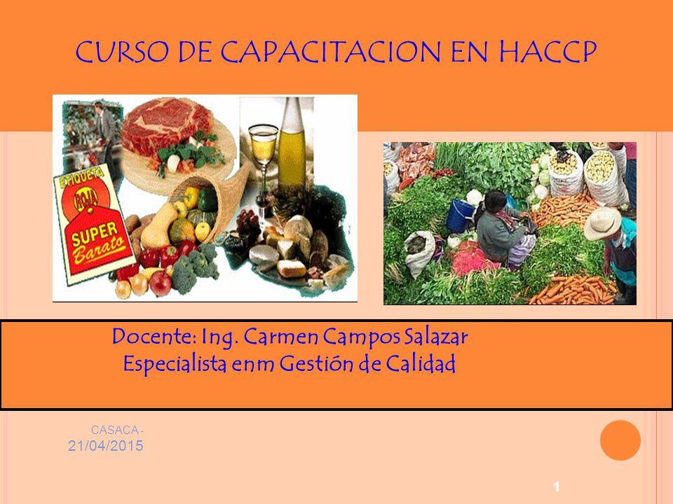 CASACA - 21/04/2015 1 CURSO DE CAPACITACION EN HACCP Docente: Ing.