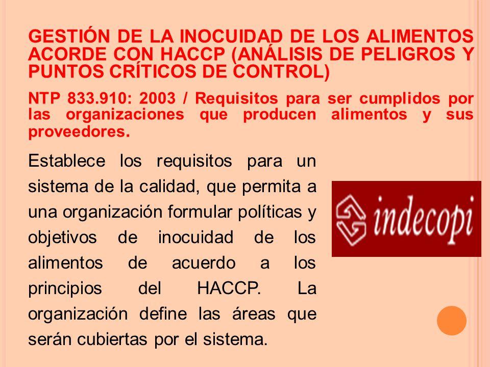 GESTIÓN DE LA INOCUIDAD DE LOS ALIMENTOS ACORDE CON HACCP (ANÁLISIS DE PELIGROS Y PUNTOS CRÍTICOS DE CONTROL) NTP 833.910: 2003 / Requisitos para ser cumplidos por las organizaciones que producen alimentos y sus proveedores.