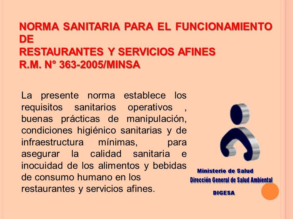 NORMA SANITARIA PARA EL FUNCIONAMIENTO DE RESTAURANTES Y SERVICIOS AFINES R.M.