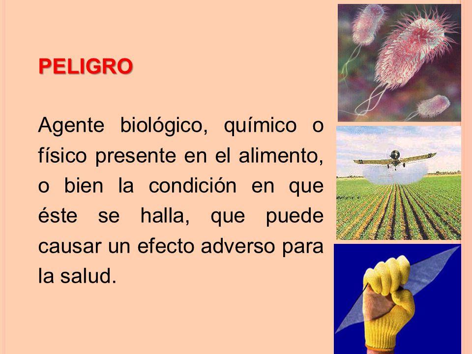 PELIGRO Agente biológico, químico o físico presente en el alimento, o bien la condición en que éste se halla, que puede causar un efecto adverso para la salud.