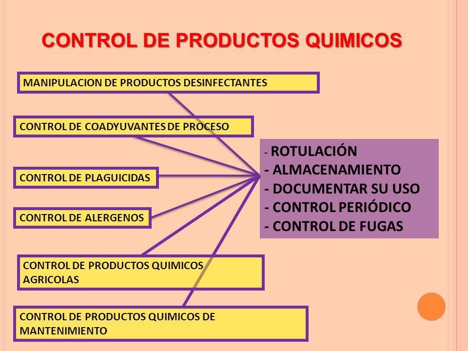 CONTROL DE PRODUCTOS QUIMICOS MANIPULACION DE PRODUCTOS DESINFECTANTES CONTROL DE COADYUVANTES DE PROCESO CONTROL DE PLAGUICIDAS CONTROL DE PRODUCTOS QUIMICOS DE MANTENIMIENTO CONTROL DE PRODUCTOS QUIMICOS AGRICOLAS CONTROL DE ALERGENOS - ROTULACIÓN - ALMACENAMIENTO - DOCUMENTAR SU USO - CONTROL PERIÓDICO - CONTROL DE FUGAS