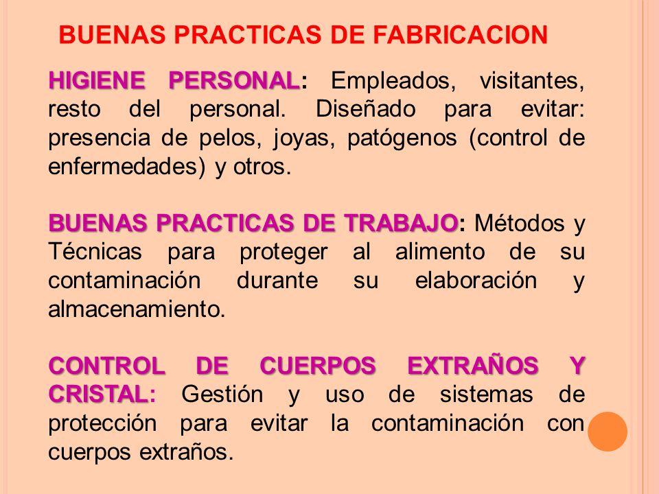 BUENAS PRACTICAS DE FABRICACION HIGIENE PERSONAL HIGIENE PERSONAL: Empleados, visitantes, resto del personal.