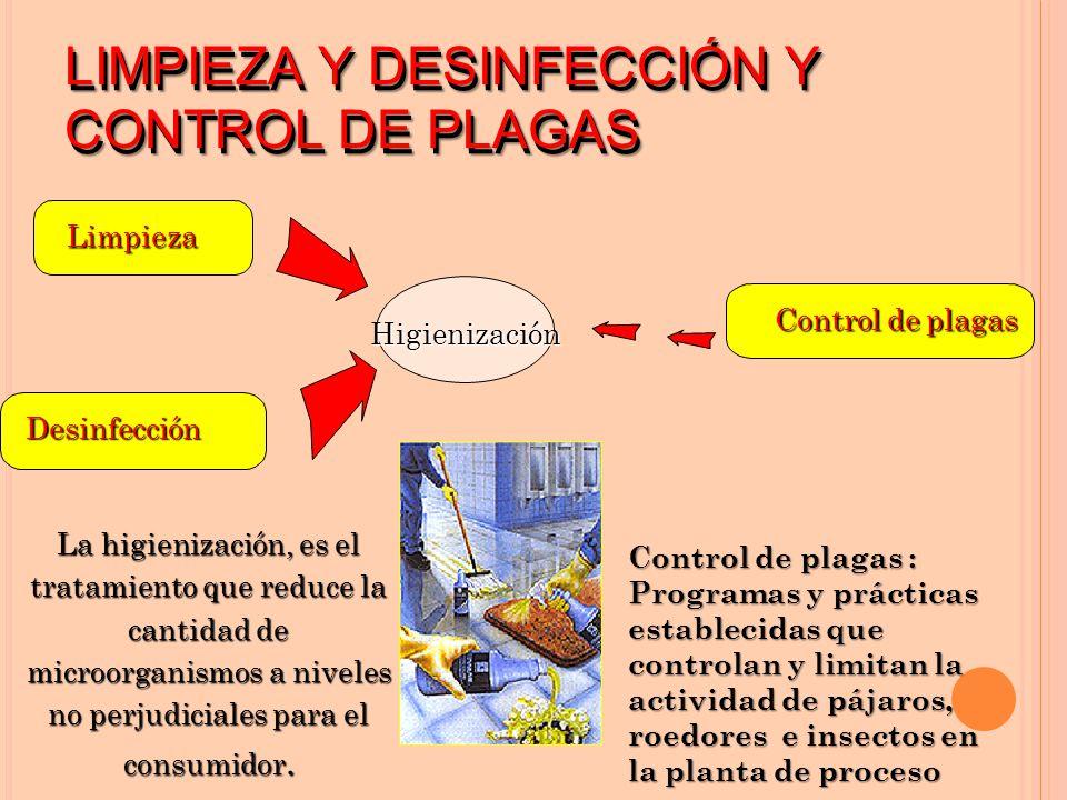 LIMPIEZA Y DESINFECCIÓN Y CONTROL DE PLAGAS Limpieza Desinfección Higienización La higienización, es el tratamiento que reduce la cantidad de microorganismos a niveles no perjudiciales para el consumidor.