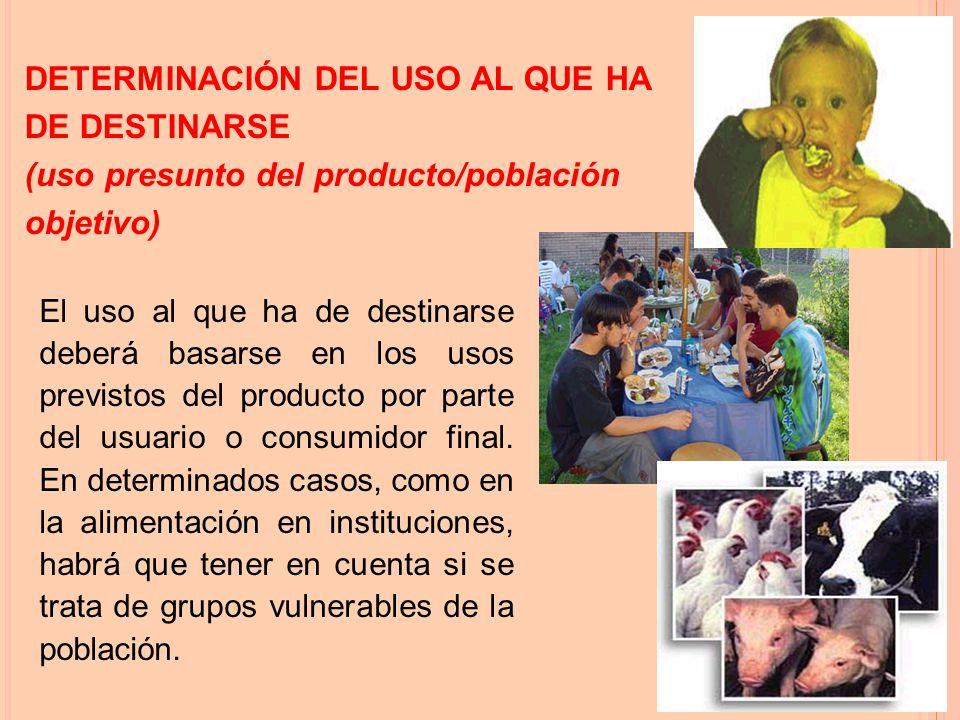 El uso al que ha de destinarse deberá basarse en los usos previstos del producto por parte del usuario o consumidor final.